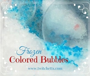 When the snow is dry this is the perfect snow day activity! The kids will be learning while they play! Watch these colored bubbles freeze before your eyes!