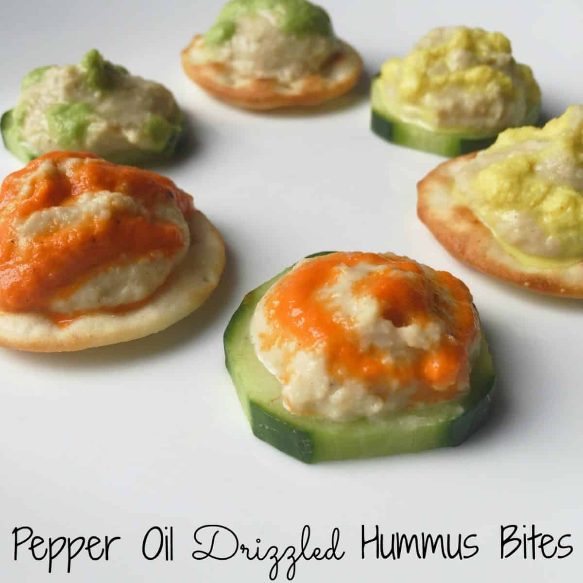 Pepper Oil Drizzled Hummus Bites