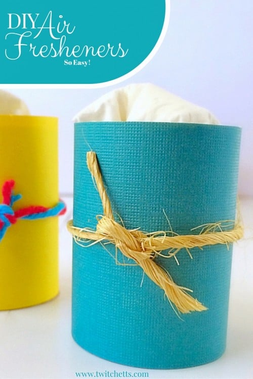 DIY Air Fresheners-Diffuse Essential Oils using simple toilet paper tubes. Great way to upcycle TP roles. Quick, Easy, and Inexpensive craft using toilet paper rolls