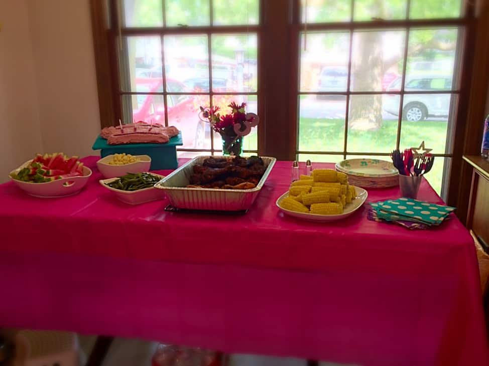 Princess Party 3rd Birthday Ideas. Cardboard Castle and naturally colored cake.