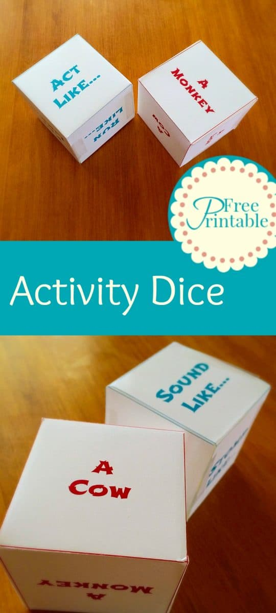 Free Printable Activity Dice