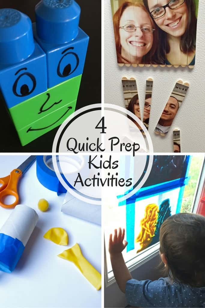 Here are 4 quick prep kids activities. With limited supplies you can get these together in no time!