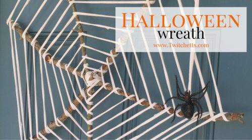 This easy Halloween Wreath is the perfect upcycled craft project! Using T-Shirt yarn and sticks from the yard it is an inexpensive Halloween Decoration.