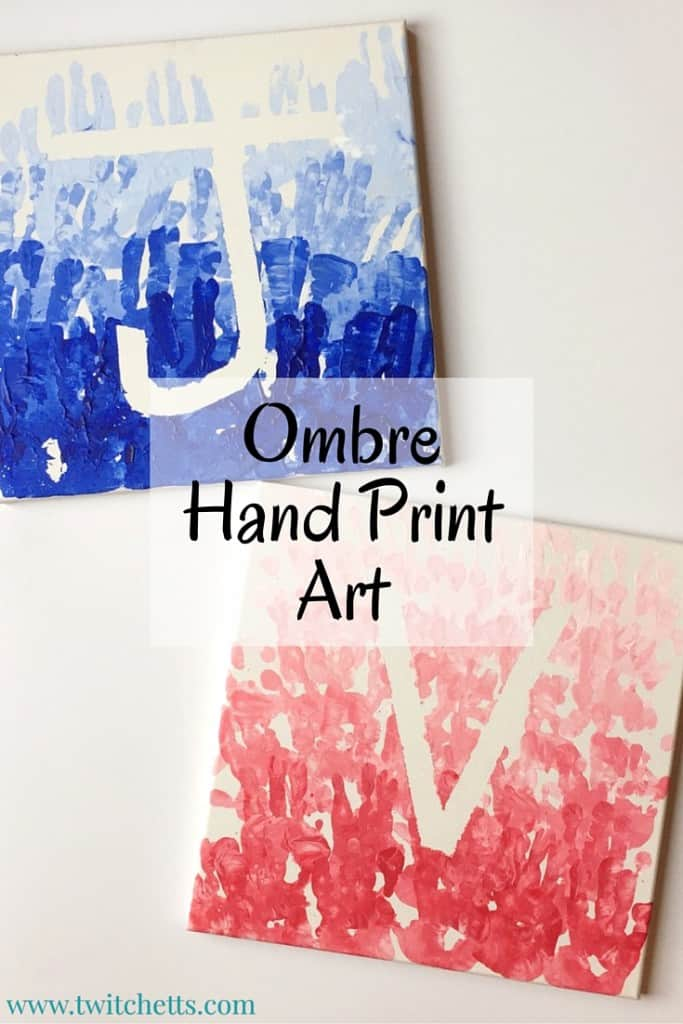 This fun ombre hand print art is created using your kids hands for stamps. The monochromatic colors create this fun ombre effect.