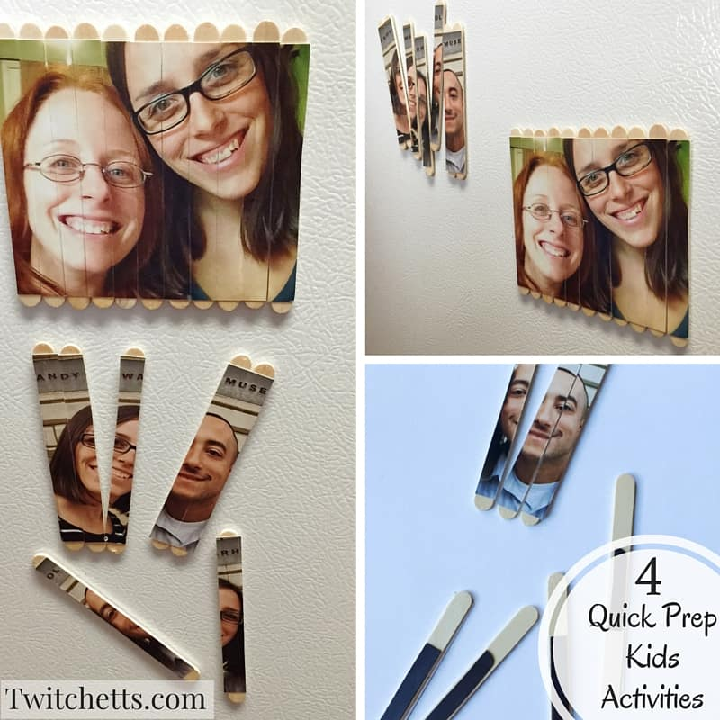 Here are 4 quick prep kids activities. With limited supplies you can get these together in no time! Custom picture puzzles made with popcycle sticks. Add magnets for even more fun!