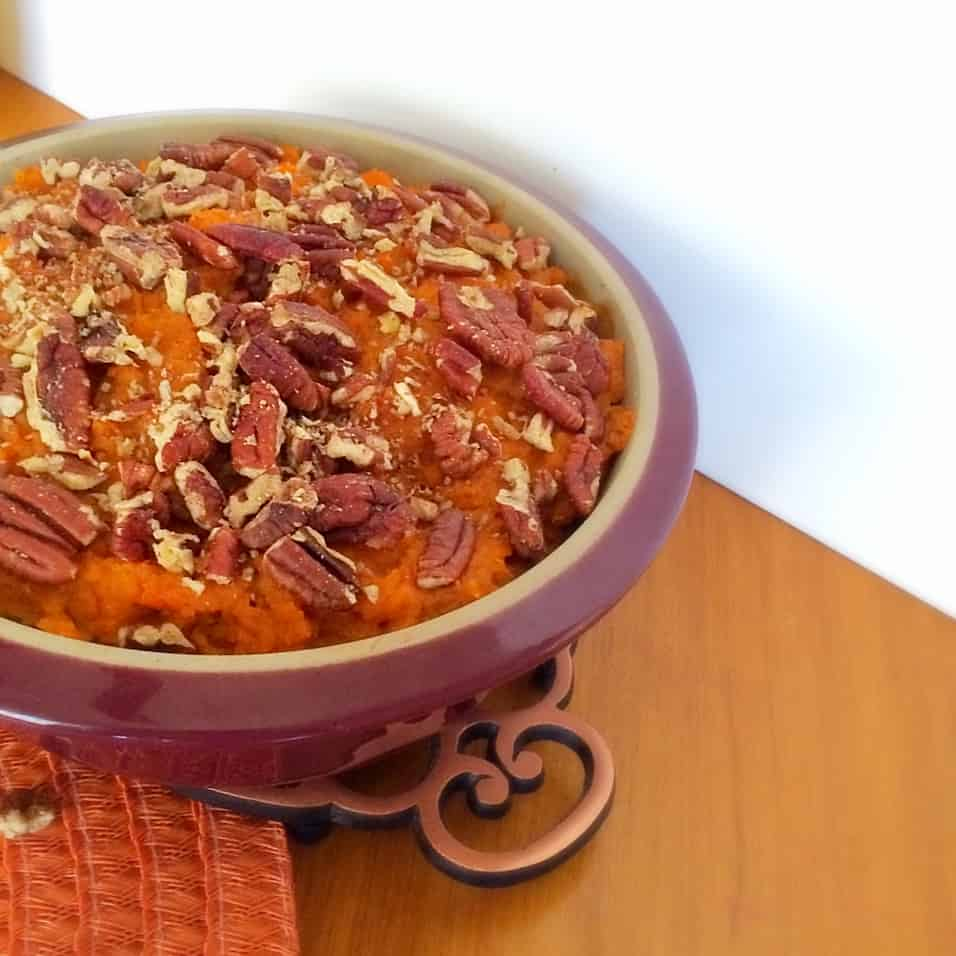 Sweet Potato Casserole with Pecans! Perfect for Thanksgiving, Christmas, or any Holiday dinner! So good, you wont even miss the marshmallows!