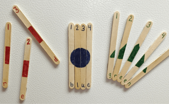 Create these fun learning sticks to teach numbers, shapes, and colors. Perfect for a quick toddler activity.