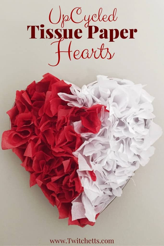 this upcycled tissue paper heart is the perfect Valentine's Day decorations. Reuse some of that Christmas tissue paper & upcycle a chocolate heart box. To create this fun Valentine's Day craft. Valentine's crafts for kids.