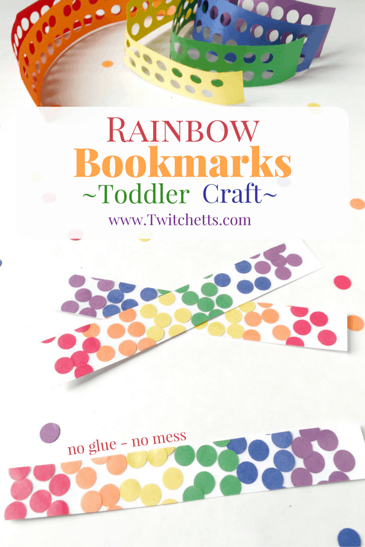 These Rainbow Bookmarks are the perfect toddler craft. Teach color recognition, fine motor skills, and create a beautiful keepsake too!