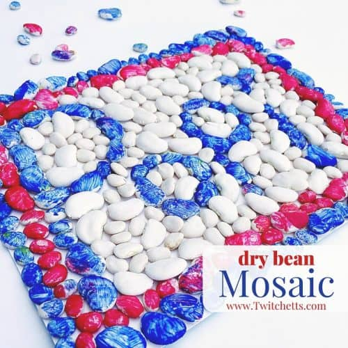 This dry bean mosaic can be a toddler craft or a kids activity! Make it for fun or as a homemade gift from the kids. Adults could even create a fun piece of art too!