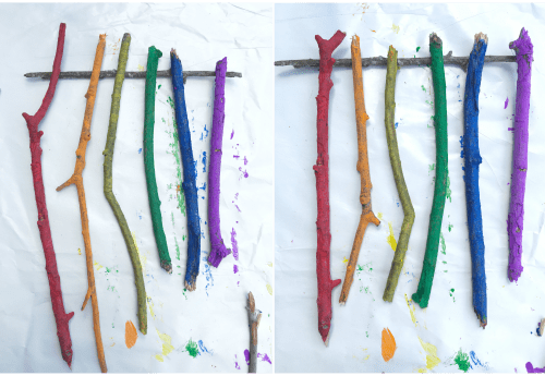 This DiY Twig Art is the perfect nature craft. Paining twigs is a fun kids activity that you can use to create this fun piece of art!