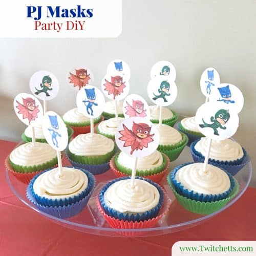 DiY pj masks printables to create cupcake toppers, cake decorations, and PJ Masks bracelets.