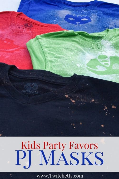These fun custom t-shirts make the perfect party favor for your kids PJ Masks Birthday party!