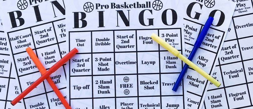 This Free Printable Pack includes 6 different Pro Basketball Bingo Boards. A great kids activity or a fun adult game to add the next time you watch an NBA basketball game.