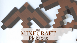 Make these DiY Minecraft Pickaxe for your Minecraft fan. Make them for a room decoration, for a Minecraft birthday party, or just a fun craft!