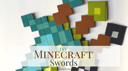 Make these DiY Minecraft Sword for your Minecraft fan. Make them for a room decoration, for a Minecraft birthday party, or just a fun craft!