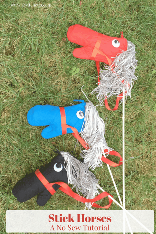 DIY Stick Horse Tutorial for creating diy horses with cheap supplies from the dollar store. How to make stick horses in bulk!