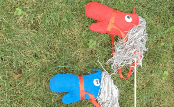 No Sew Stick Horse-Tutorial for creating diy horses with cheap supplies from the dollar store