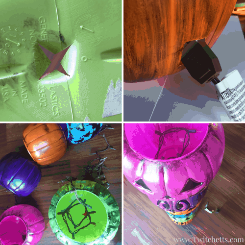 Create a fun lit pumpkin totem pole for a quick and easy Halloween decoration! DiY instructions for making your own weathered plastic pumpkins too!