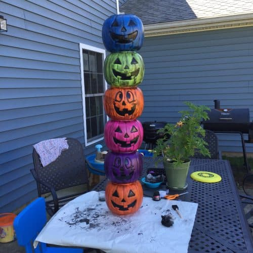 Weathered Plastic Pumpkin Totem Pole Twitchetts