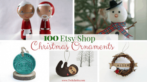 100 Etsy Christmas Ornaments-Holiday ornaments for kids, mom, dad, grandma, grandpa, baby's first, and everyone else on your gift list. From santa ornaments, snowman ornaments, angel ornaments, natural wood ornaments, metal ornaments, animal ornament, classic ball ornaments and more. All handmade by Etsy Shop owners.
