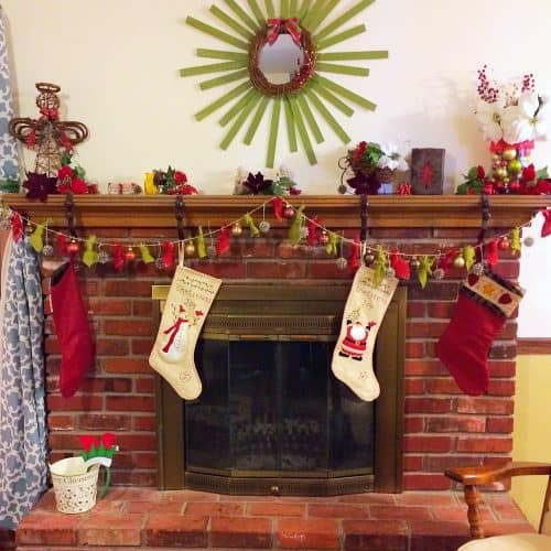 DIY Christmas Garland. Simple rustic and natural garland made from gum balls, inexpensive Christmas ornaments, and burlap.