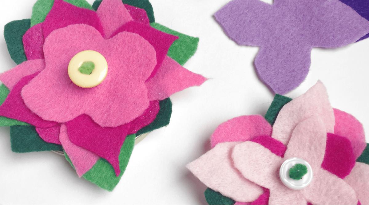 Button Practice Felt Flowers