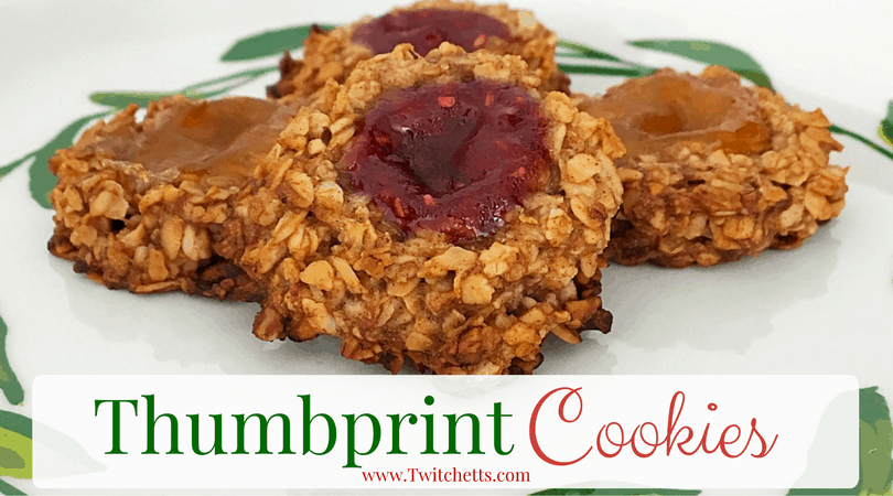 Thumbprint Cookie-oatmeal thumbprint cookies using any flavor of jelly. Perfect for a Christmas cookie or toddler snack.