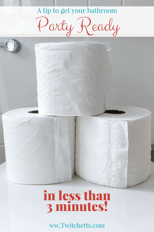 Get your bathroom party ready with toilet paper rolls for your visitors. Your guests will love this quick tip! Super simple bathroom hack.