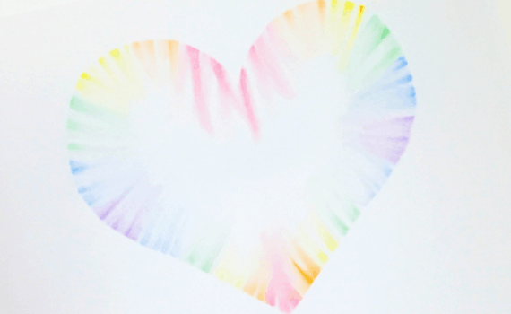 Soft Pastel Rainbow Heart Craft. This makes a great Valentines day craft.