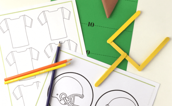 The Paper Football Party Pack contains 16 pages of football party fun designed to keep everyone entertained! There are jerseys and helmets to design and color. Pregame with some paper football, fun for the kids and adults! Then grab your football bingo cards to play along with the big game!