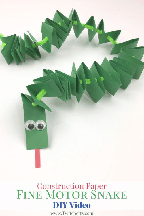 This Construction Paper Snake is fun to make and helps develop fine motor skills. Construction Paper Crafts for Kids.