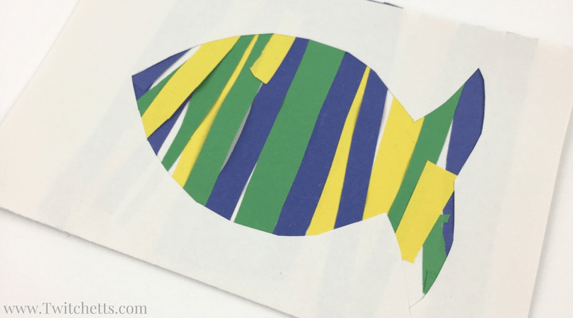 Create this fun construction paper fish while working on scissor skills with your little one! Construction Paper Crafts for Kids.