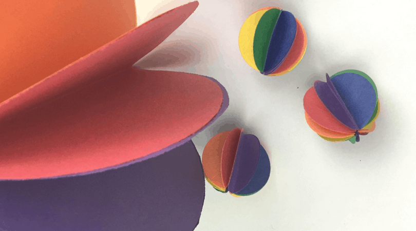 Construction Paper Crafts for Kids ~ Rainbow Spheres