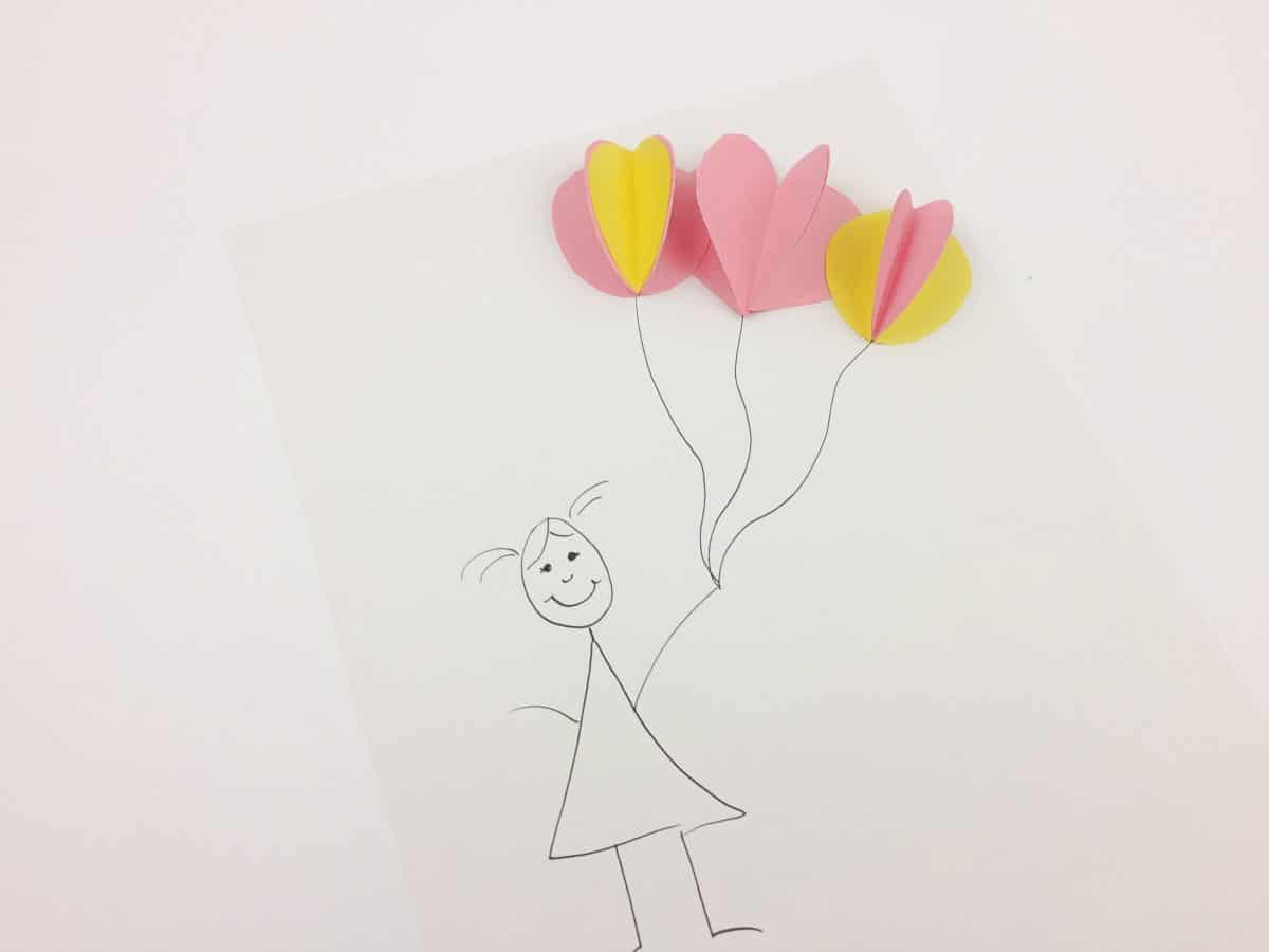 This 3D Balloon drawing makes a great construction paper crafts for kids!