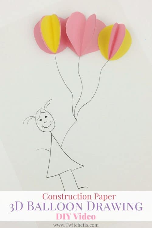 this 3d balloon drawing makes a great construction paper crafts for kids