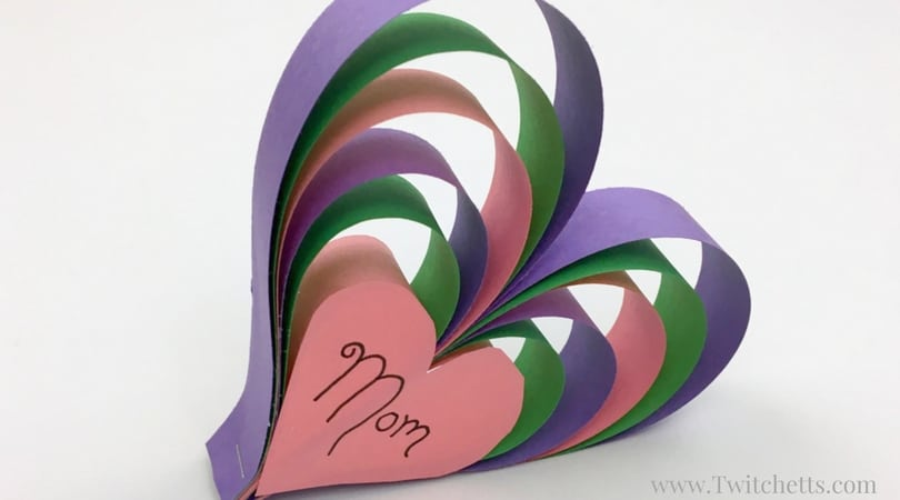 Create this fun construction paper craft for Mom this year! This 3d paper heart craft is perfect for Mother's Day or Moms birthday. Can easily be created for anyone you love!