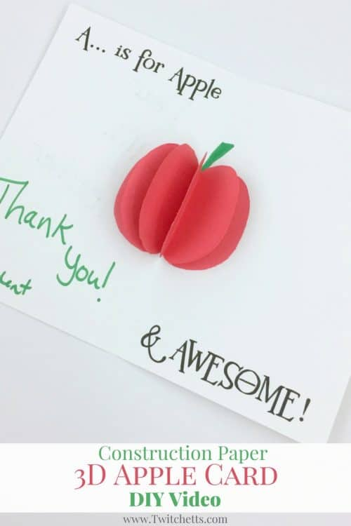Create this fun 3D Apple Card for teacher appreciation week or anytime you need an apple project for kids! This 3D construction paper craft is sure to be fun for the kids.