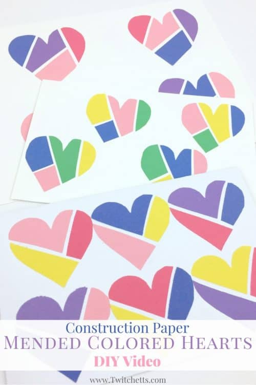 Create these fun construction paper hearts! Almost like heart puzzles these make a great construction paper craft for kids!
