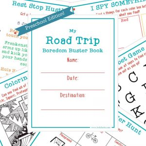 Travel games for preschoolers. The younger kiddos want something to do on their next road trip. Get them involved in the car ride with this rod trip boredom buster kit for preschoolers (or kindergartners) Perfect for ages 3, 4, or 5!
