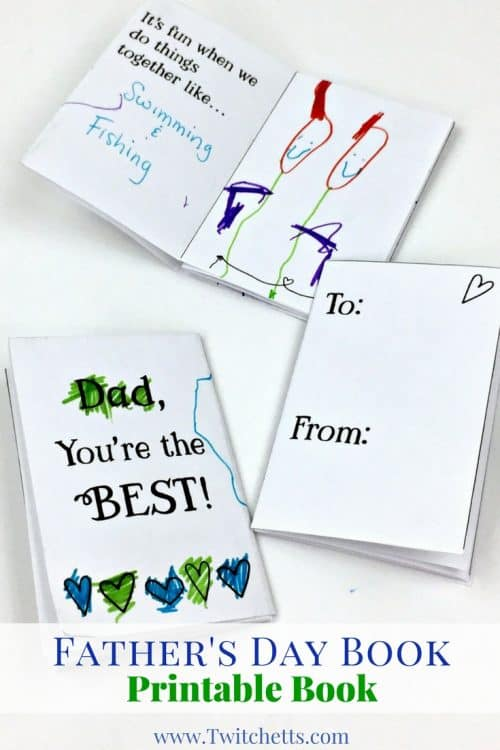 Create an unforgettable Father's Day Book with this printable card for dads. A great DIY gift for dads that your kids can personalize!