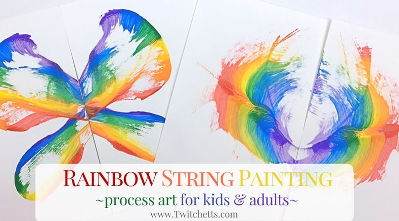 Rainbow String Painting ~ Process Art for Kids of all ages