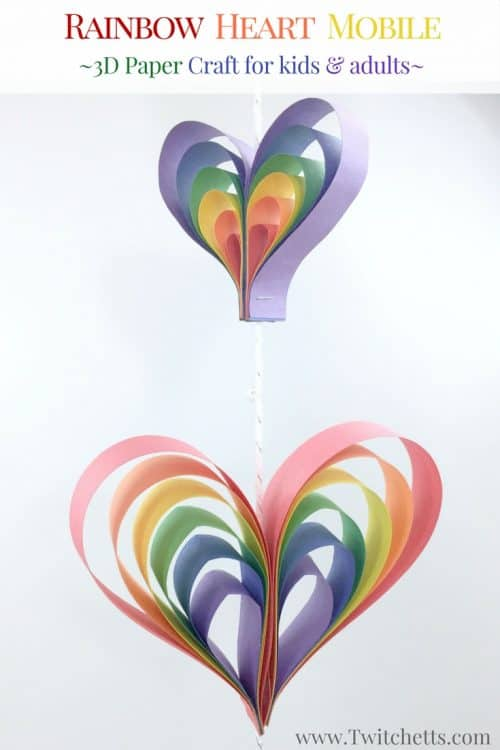 Create A Spinning Rainbow Heart Mobile Using Construction Paper Fun Kids Art Project That