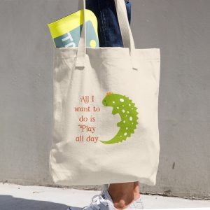 Lizard Play Cotton Tote Bag