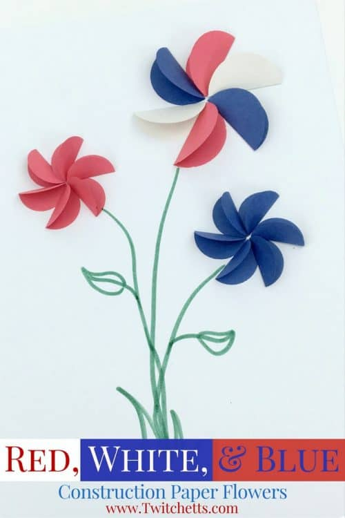 Create these amazing construction paper flowers in red white and blue.  They are perfect patriotic crafts for kids.