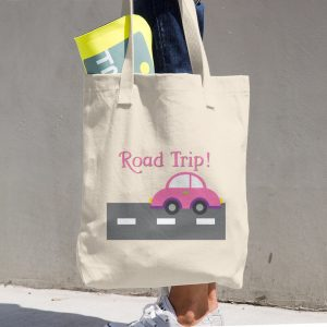 Pink Road Trip Cotton Tote Bag