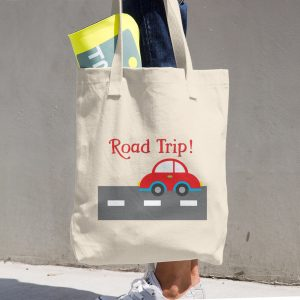 Red Road Trip Cotton Tote Bag