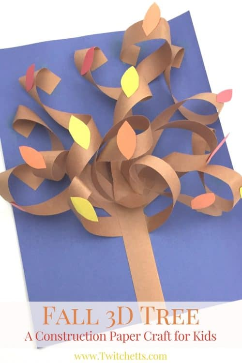 This constructions paper tree is a fun 3d construction paper craft. Create it all seasons by just switching up the fall leaves for blossoms, green leafs, apples, or leave them bare.