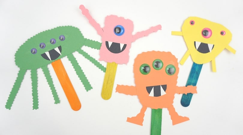 Construction Paper Monster Puppets ~ Easy Halloween Crafts for Kids