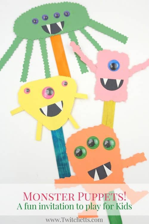 These construction paper monster puppets will build cutting skills while creating fun and easy Halloween Crafts for Kids. Perfect for an afternoon craft or a quick addition if you are hosting a Halloween party for kids!